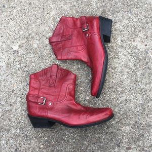 Franco Sarto red leather boots size 8 1/2